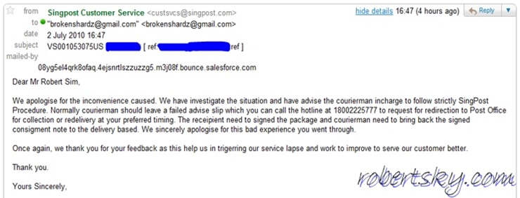 First Reply from Singpost
