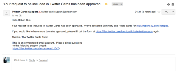 Your request to be included in Twitter Cards has been approved