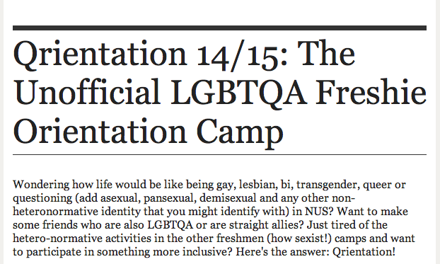 Of: Qrientation 14/15: The Unofficial LGBTQA Freshie Orientation Camp